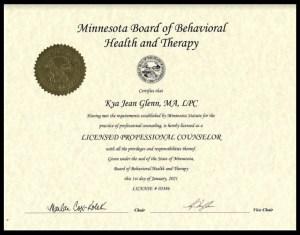 kya glenn LPC license