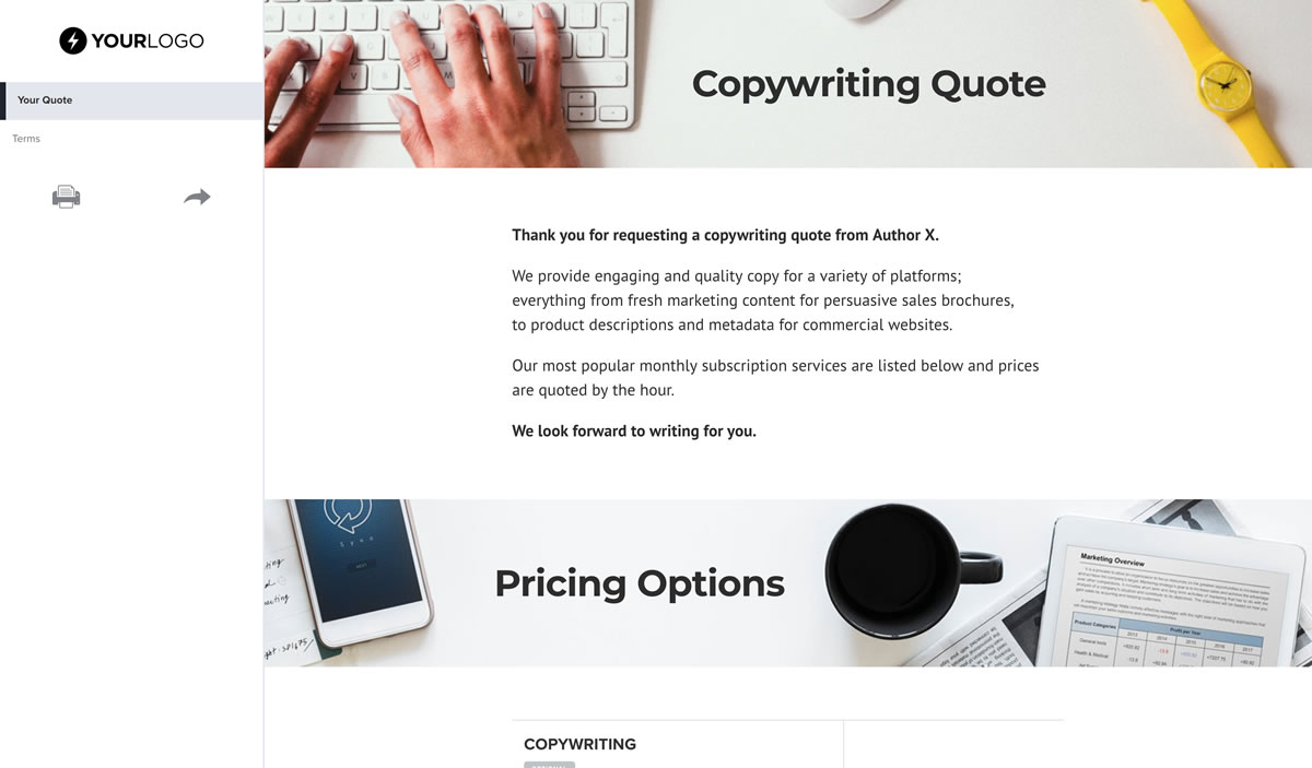 Website Copywriter Cover Letter Free Copywriter Quote Template Better Proposals