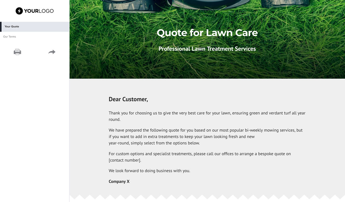 Free Lawn Care Quote Template  Better Proposals