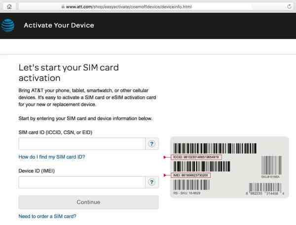 A screenshot of the AT&T Easy SIM Activation webpage