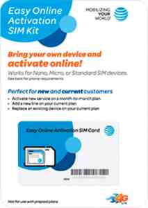 Flyer for the AT&T Easy Online Activation SIM Kit