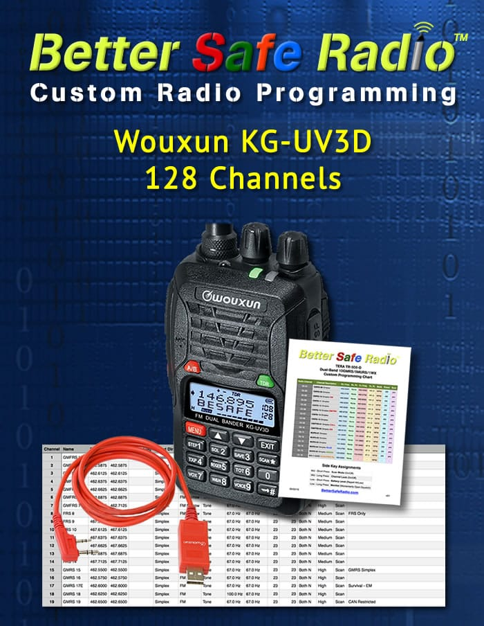BSR-PRG3D Custom Radio Programming for Wouxun KG-UV3D