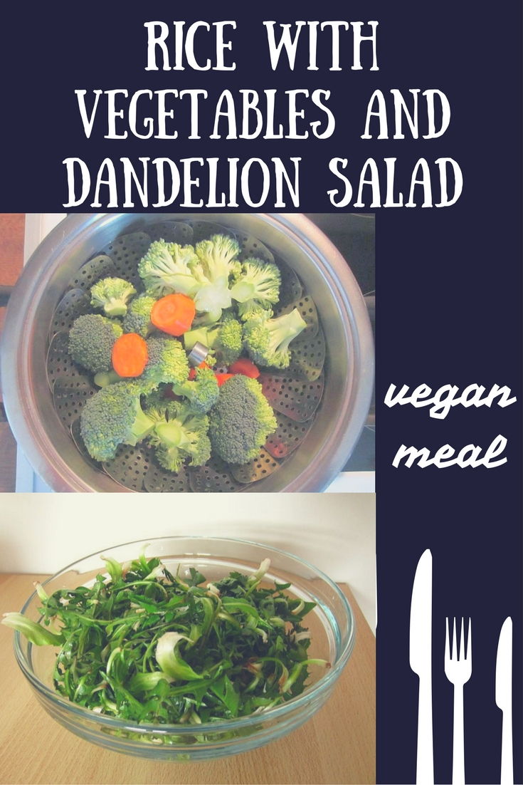 rice with vegetables dandelion salad vegan