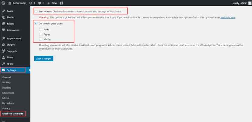 disable wordpress comments