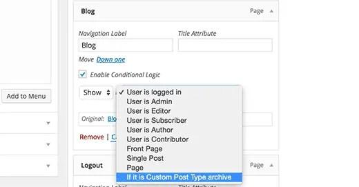 conditional menu in WordPress