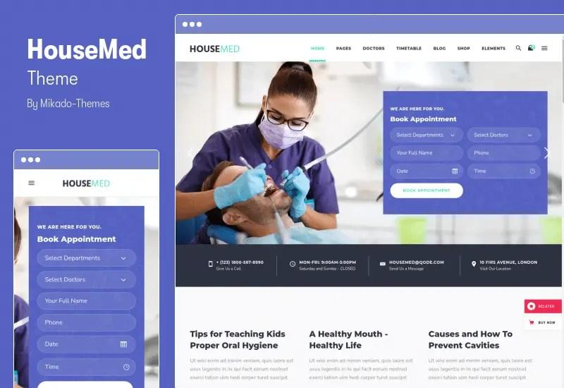 HouseMed Theme - Dental Medical and Health WP Theme