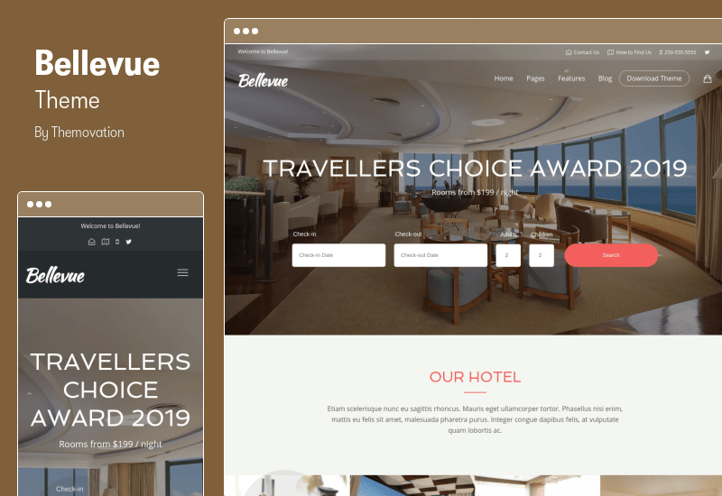 Bellevue Theme - Hotel Bed and Breakfast Booking Calendar Elementor Theme