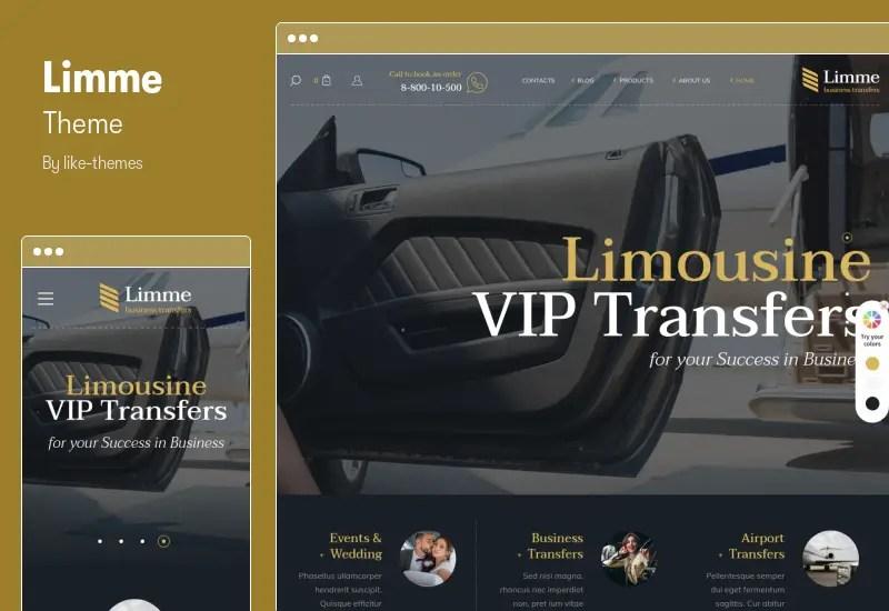 Limme Theme - RTL Limousine Transfers WordPress Theme