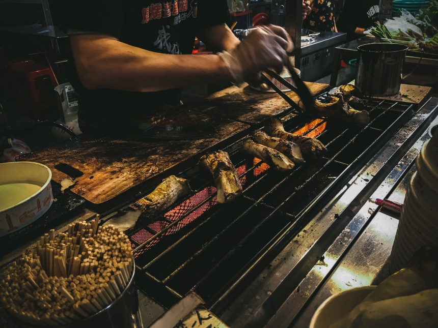 Night markets grill mushroom delicious in Taipei Taiwan