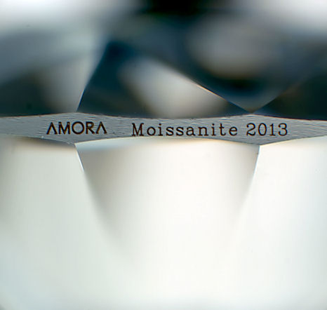 Amora enhanced Moissanite zoom photo of laser engraving on our new production