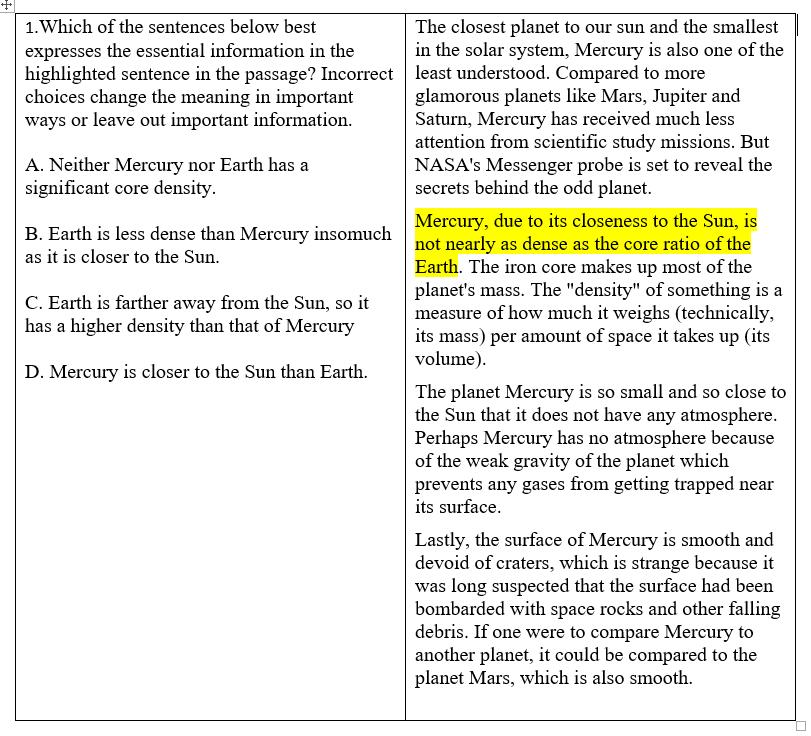 TOEFL example question