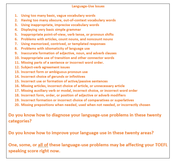 TOEFL language-use issues