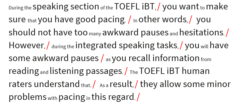 TOEFL passage thought groups
