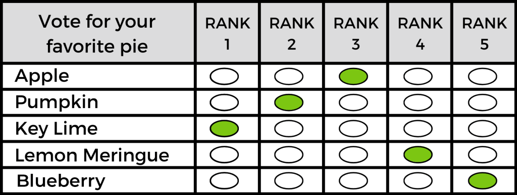 Example 3 Mock Rank Choice Voting