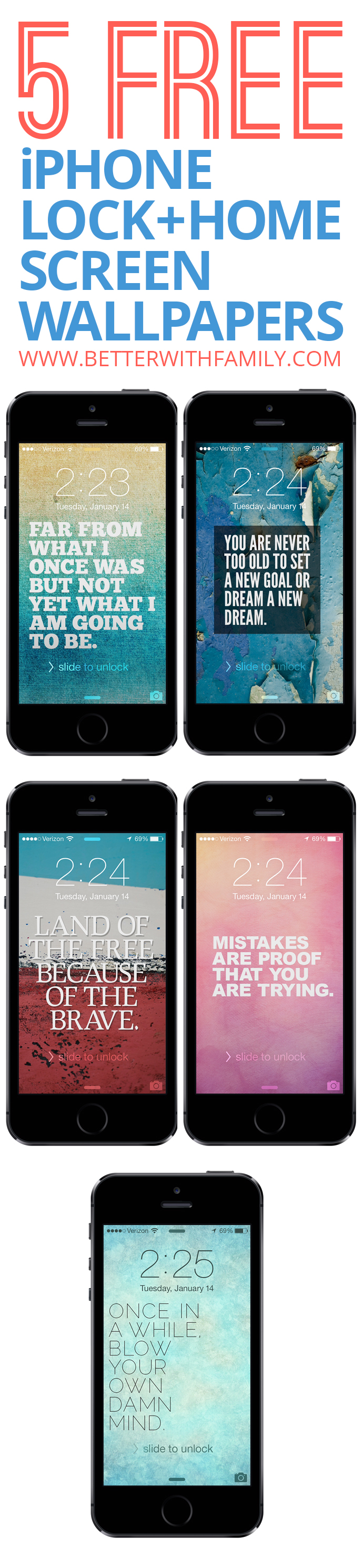5 Free iPhone Lock / Home Screen Wallapapers - Better with Family (www.betterwithfamily.com)