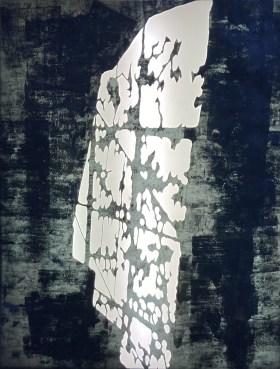 Atelierfenster, 2021, Papierschnitt, Leuchtkasten, 126 x 96 cm