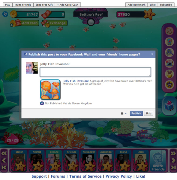 Players can post a quest to their Facebook wall in a request for help. This gives friends the opportunity to earn items, coins, or progress achievements by assisting.