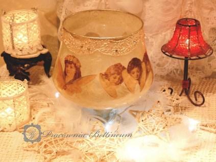 Lampion szklany z aniołami