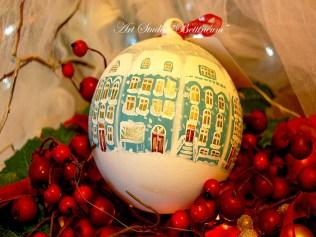 """Szklane bombki malowane ręcznie (12cm) """"Świąteczne domki"""""""