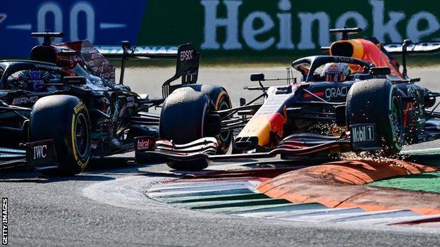 Lewis Hamilton and Max Verstappen collide at the Italian Grand Prix