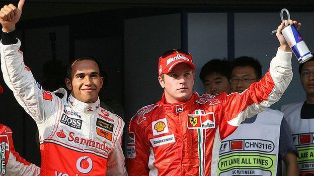 Lewis Hamilton finished second to Kimi Raikkonen in bis