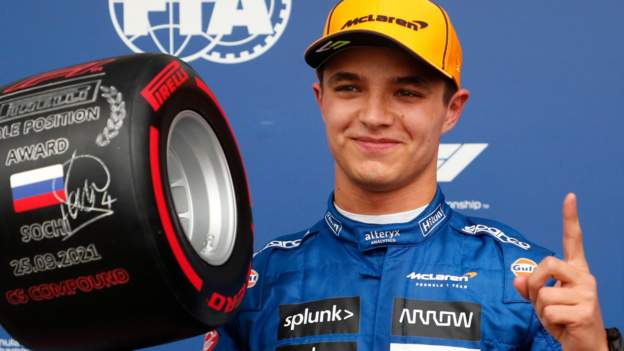 Lando Norris on pole position in Russian Grand Prix qualifying, as Lewis Hamilton spins