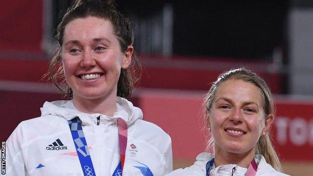 Great Britain's Katie Archibald (left) and Neah Evans