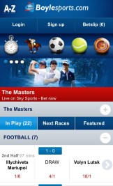 Boylesports mobile app - choose your sport to bet