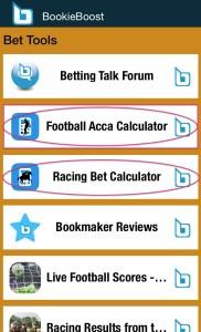 Choose from Racing Bet Calculator or Football Bet Calculators
