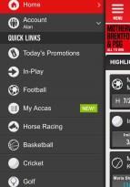 Ladbrokes app's quick links