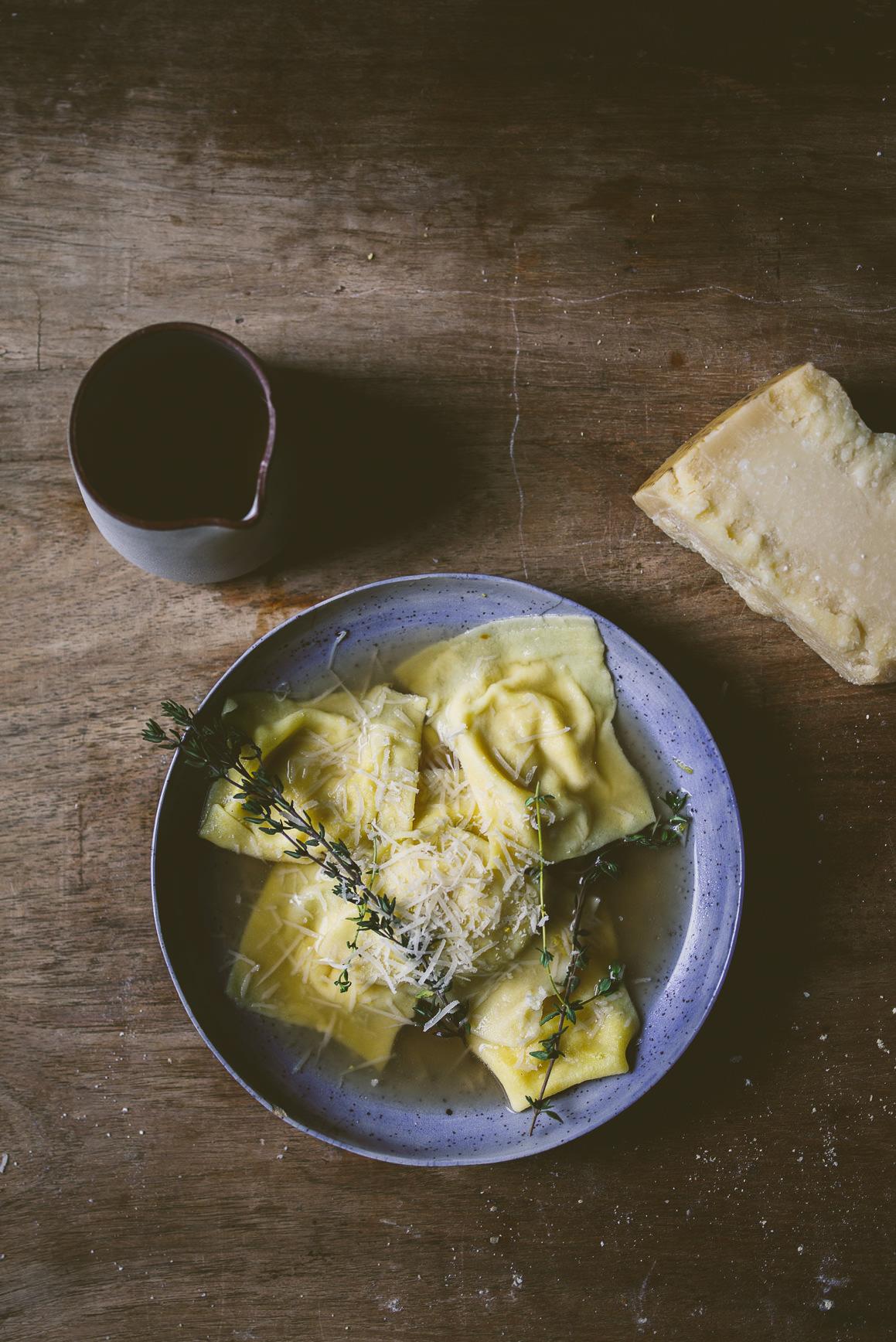 kitchen aid pasta marble counter miso squash ravioli in a mushroom broth + kitchenaid ...