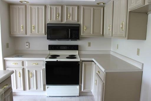 kitchen redo corner nook 2 black cupboards some extras between3sisters