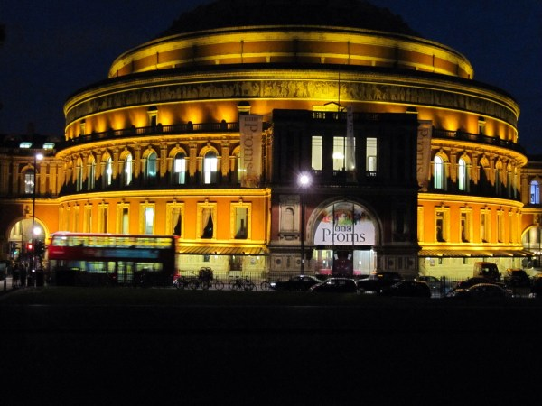 Royal Albert Hall at night.