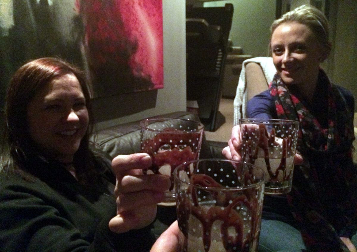 Cheers! Celebrating our night with a very strong, yet delicious, Death Eater cocktail.