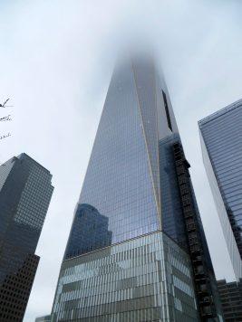 Fog engulfs the Freedom Tower.