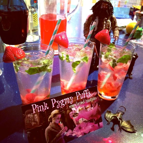 Pink Pygmy Puffs with dried nettles (or strawberry basil mojitos).