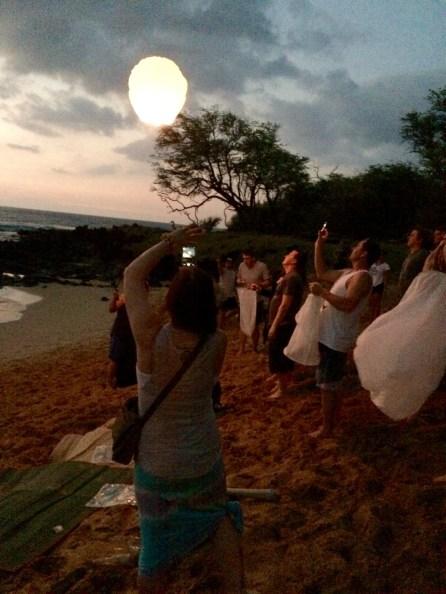 Releasing lanterns at Little Beach, Makena, Maui, Hawaii