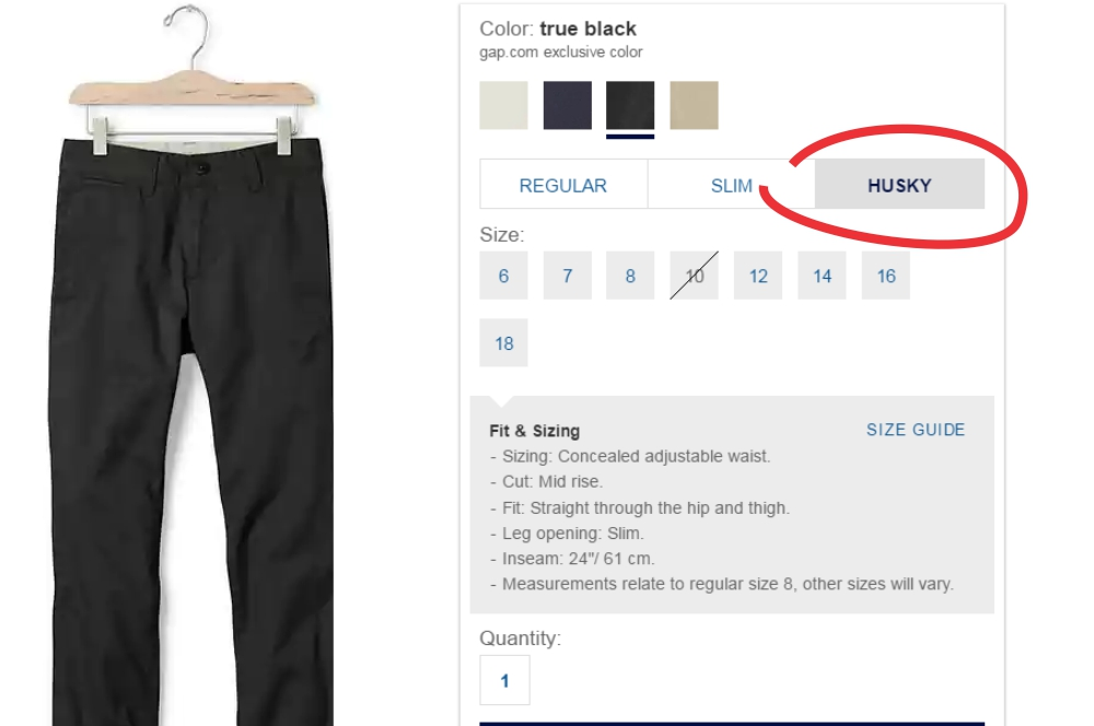 How and where do you find the perfect fit for your husky boys? Here's a complete resource, from shirt to pants and more. How to shop for a husky boy.