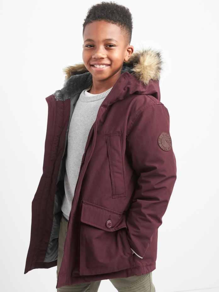 fur trimmed coat by gap