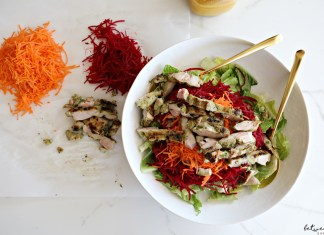 You'll enjoy this beautiful Pesto Chicken with Rainbow Salad with all of your senses...and it's easy to prep too!