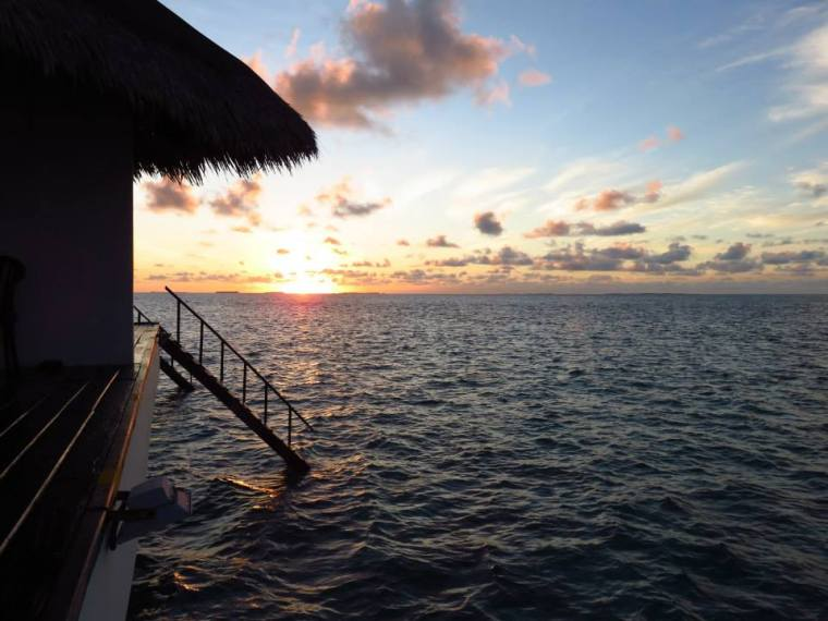 Maldives Sunset from water bungalow
