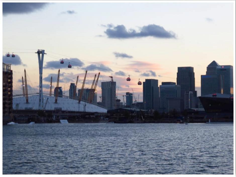 O2 Arena and London Skyline