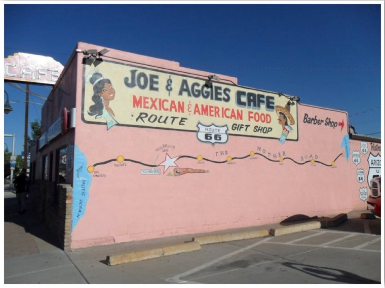 Route 66 Cars Joe and Aggies Cafe in Holbrook AZ