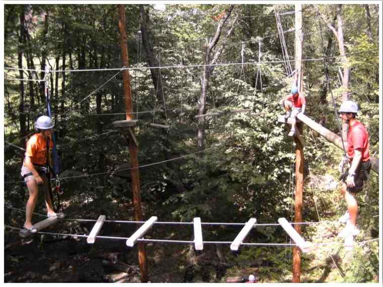 Summer camp high ropes course