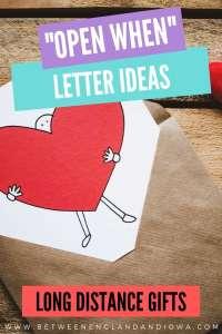 Open When Letter Ideas for Long Distance