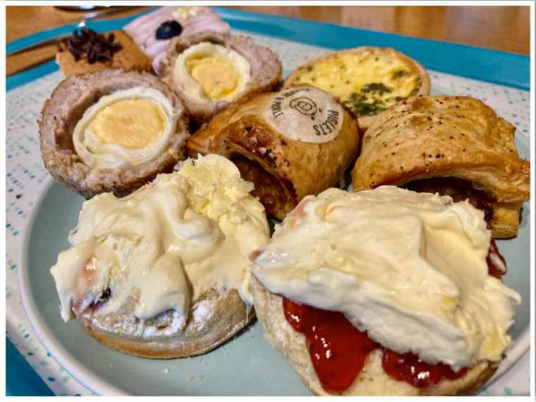 Piglets Pantry Afternoon Tea For One, scones and savoury items