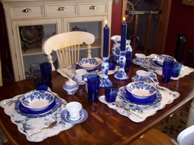 fall kitchen decor buffet hutch breakfast table setting with blue willow