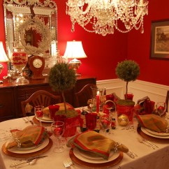 Beach Themed Kitchen Decor Round Table Sets For 6 Christmas Setting Tablescape With Topiary Centerpiece