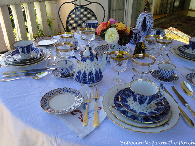 Dining on the Balcony Table Setting with Lomonosov Porcelain