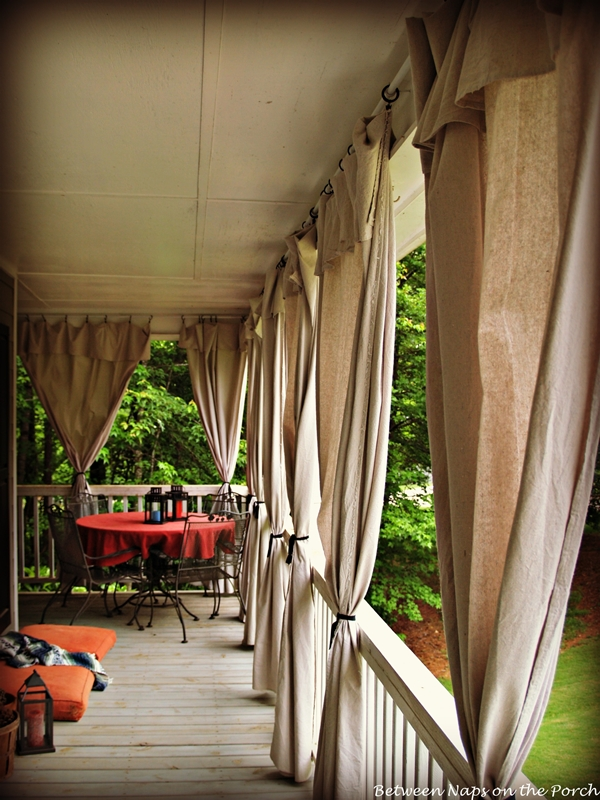 Drop Cloth Curtains for a Porch Add Privacy and Sun Control